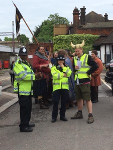 Vikings and police at the station